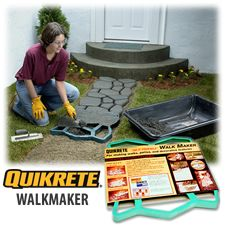 With QUIKRETE Walkmaker you can build beautiful cobblestone or brick walkways with ease in a variety of colors. Easy-To-Use reusable plastic molds.