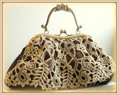 Bolso boquilla Guipur y satén chocolate Frame bag by LolitaSalá.