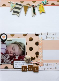 """Anma.no - Blog - """"Zzzz"""" layout created by Dt Stine. Polaroid Film, Scrapbooking, Layout, Create, Blog, Page Layout, Scrapbook, Memory Books, Scrapbooks"""