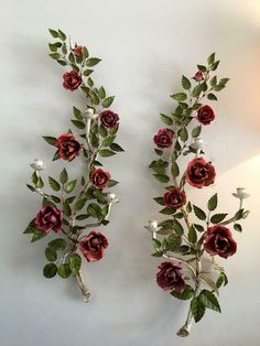 VINTAGE ITALIAN METAL TOLE FLOWER RED ROSES LARGE SCONCE WALL CANDLE HOLDER PAIR | eBay Wall Candle Holders, Vintage Italian, Art Decor, Home Decor, Wall Sconces, Red Roses, Vase, Candles, Ebay