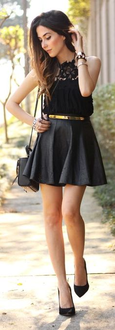Black Lace Halter Top Girly Outfit Idea by Fashion Coolture