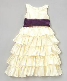 Love this Ivory & Lavender Tiered Bow Dress - Toddler & Girls on #zulily! #zulilyfinds