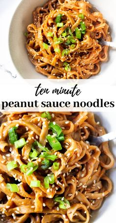 Sweet and spicy peanut sauce rice noodles ready in less than 10 minutes making it perfect for a quick dinner or lunch recipe. Vegan, gluten free and so healthy and yummy! Plats Healthy, Tasty Vegetarian Recipes, Yummy Quick Recipes, Healthy Noodle Recipes, Vegetarian Cooking, Healthy Lunch Recipies, Healthy Indian Recipes Vegetarian, Vegetarian Rice Noodle Recipes, Healthy Recipes For Kids