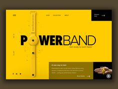 Powerband Promo Website designed by Irene Zinych. the global community for designers and creative professionals. Ecommerce Web Design, App Ui Design, Page Design, Flyer Design, Book Design, Interface Design, User Interface, Web Layout, Layout Design