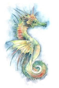 "themagicfarawayttree:"" Sea Dragon, Half Seahorse and Half Dragon by Jessica C. Feinberg """