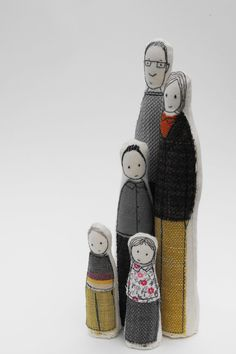Embroidered lines & fabric? ----->Family Sculptures 2 - Family of 5