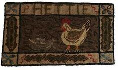 "A410 Early 20th century Amish Hooked Rug Depicting a Rooster in the center square, Surrounded by smaller banners with the name Hettie in the top banner.Great colors . 20"" x 35"". Condition: Good."