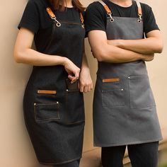 Black Gray Denim Apron Crossback Cotton Straps - Little Tailor Studio - Microneedling Acnee Cafe Uniform, Waiter Uniform, Hotel Uniform, Cafe Apron, Shop Apron, Kellner Uniform, Chef Dress, Waitress Outfit, Restaurant Aprons