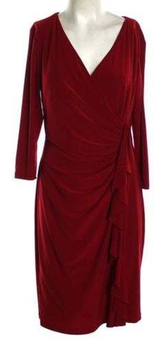 Women's AMERICAN LIVING Red 100% Polyester Mid-Calf Shift Dress Size 14