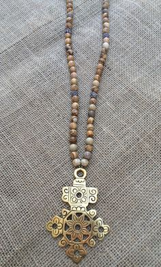 Brown jasper necklace with ethiopian cross and by ShopLaLaSloan