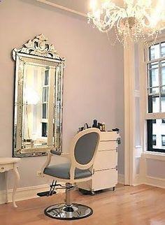 Glam hair salon, home hair salons, salon vintage, vintage hair salons, posh Glam Hair Salon, Vintage Hair Salons, Home Hair Salons, In Home Salon, Makeup Salon, Makeup Studio, Hair Studio, Vintage Salon Decor, Shabby Chic Salon