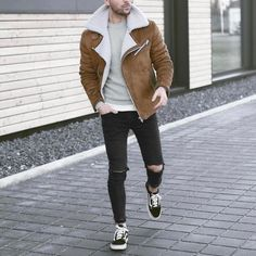 Shearling jacket , ripped jeans and sneakers by @malikarakurt [ www.RoyalFashionist.com ] tag #royalfashionist