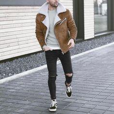 Shearling jacket , ripped jeans and sneakers by @malikarakurt [ www.RoyalFashionist.com ] tag #royalfashionist