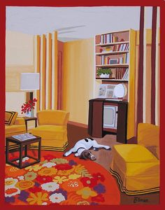 DOG IN THE DEN  Sleeping Pointer in a 1960s mod den. Mid Century modern living.  This is a limited edition (200 prints) print by Linda Tillman. It is a print of an original gouache painting. Prints are all printed on archival matte paper. They are printed with a Canon iX6500 printer. It has a border. The edges of the composition fade softly into white as they do on the original painting. The print will fit a standard pre-cut matte for easy framing.  The size is 14 x 11 inches  Each print is…