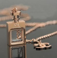 Chanel No 5 perfume bottle necklace