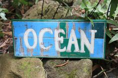 """NAUTICAL SIGN """"OCEAN"""" WEATHERED 14"""""""