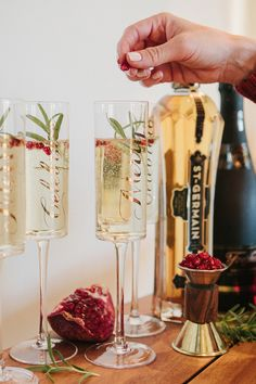 Directions1. Pour Ederflower cordial into the bottom of the champagne glass2. Followed by pomegranate juice and gin3. Add Prosecco or Sparkling Wine and stir gently.4. Slowly drop pomegranate seeds into glass and garnish with a sprig of rosemary. Cheers!CreditsPhotographers: Radion PhotographyCoordinators & Stylists: Eye Candy Design