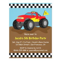 Red Monster Truck Birthday Party Invitation