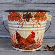 6in tall yellow spatterware enamel bucket with handle. Hand painted treasure by trish mcmurray!!!