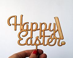 Happy Easter Cake Topper - Laser cut wood or acrylic easter decoration for your easter party!