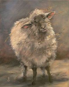 "Debra J. Sepos • ""Sheep with Field Straw Caught in Coat"" • 8""x10"" original oil painting (sold) • With all the messy straw hanging from his coat, this wooly sheep gives us an endearing curious look."
