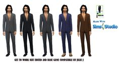 GetToWork Male Suit Edited and Base Game... - Julie J's Simblr