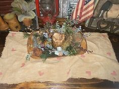 ⛄️Grungy Primitive Snowman Snowflakes Stars Farmhouse Tray CLOTH Mat Candle Tree