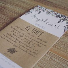Menu & Place Cards, Wedding Stationery