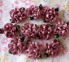 10 Handmade Ribbon Flowers With Leaves 1 inch In by Mydesign63, $2.99