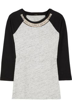 J.Crew | Crystal-embellished cotton baseball top