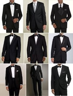 "Tuxedo looks - bottom left looks like the only ""proper one"" notch lapel, single button, cummerbund and bow-tie"
