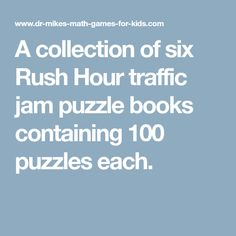 A collection of six Rush Hour traffic jam puzzle books containing 100 puzzles each.