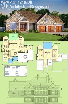 Architectural Designs House Plan 42416DB, designed for your rear sloping lot, gives you 3 beds and over 2,700 square feet of heated living space. Ready when you are. Where do YOU want to build?