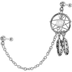 Clear CZ Dreamcatcher Cartilage Tragus Barbell Earring Chain