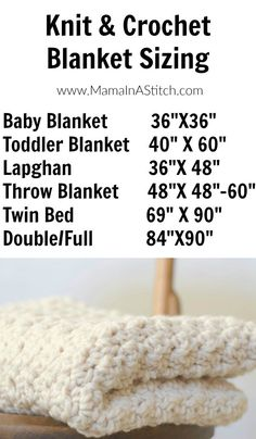 Blanket sizing guide - so you know how much more you have to crochet