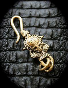 Lightning Bolt Skull Brass Hook Key Chain/Key Holder/Key by Mygoth