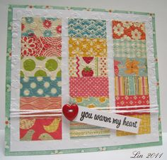 happy prints form columns on this embossed, quilt-inspired card...beautiful!!