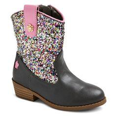 New Cute Infant Toddler Sequined Winter Dress Boots Shoes Sz 8-13 12, Black