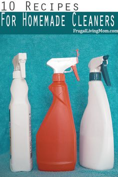 This Post Contains Affiliate Links - Disclosure PolicyHomemade Cleaners Going green has a whole new meaning when you're cleaning your house with DIY cleaning solutions. You're going to save lots of green while using Homemade Cleaners without harsh chemicals in them. Try these simply Homemade Cleaners Recipes and toss out the other stuff! Kitchen Counter Scrubber: To get off tough gunk, mix kosher salt and water and scrub with a wet cloth or sponge. Window Cleaner: Combine 1/2 teaspoon mi...