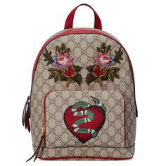 dfb6e5a20 Shop the Limited Edition GG Supreme backpack by Gucci. A special limited  edition backpack, featuring red leather trims and embroideries.