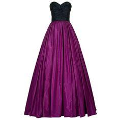 Oscar de la Renta Colour Block Ruched Taffeta Gown featuring polyvore, fashion, clothing, dresses, gowns, long dress, purple dress, full skirt, ruched dress, sweetheart ball gown and long purple dress