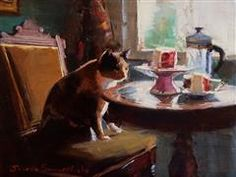 Discover Original Art for Sale Online at UGallery | Afternoon Tea II oil painting by Jonelle Summerfield