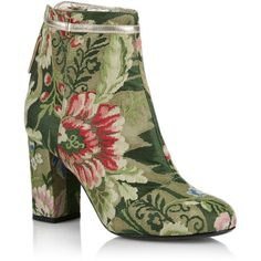 Rubeus Milano Lampasso Brocade Ankle Boot ($1,345) ❤ liked on Polyvore featuring shoes, boots, ankle booties, green, ankle boots, almond toe ankle boots, metallic booties, metallic ankle boots and short boots