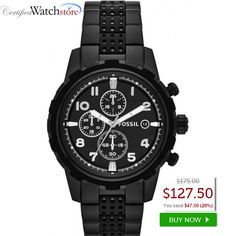 BEST DEAL! Fossil FS4902 Dean SAVE 28% OFF! This Fossil FS4902 Dean watch boasts a fashionable black stainless steel case and black dial with silver, luminous hands. An unforgettable watch for your unforgettable occasion, this sharp timepiece is sure to impress.   SAVE 28% OFF http://www.certifiedwatchstore.com/fossil-fs4902-dean-mens-watch-black-dial.html