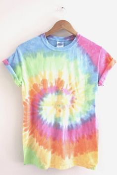 Pastel rainbow tie-dyed 100% cotton t-shirt. Please note: Each tie-dyed tee is hand dyed and slightly unique. Washing instructions: Machine wash inside out in very cold water, dry normally. Slight fad