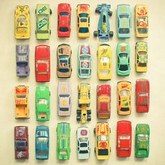 Car Park Stretched Canvas w/old Matchbox cars - Art for Vintage Boy's Room