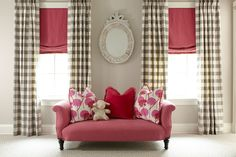 Love the checked drapes and pink shades Budget Blinds of Madison Pretty In Pink, Budget Blinds, Drapes Curtains, Drapery, Valances, Gingham Curtains, Curtain Panels, Custom Window Treatments, Wall Treatments