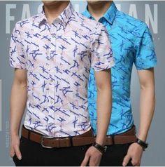 Plus Size 3XL 4XL 5XL Men Shirt Fashion 2017 New Brand Summer Cotton Short Sleeve Casual Slim Fit Single Breasted Print Shirts