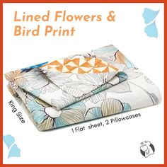 There is just nothing better than a beautiful, inviting comfortable bed after a long day. This Lined Flowers & Bird Print king-size bed sheet is created using the richest colours stemming and the softest fabrics, 100% long-staple cotton, making it the perfect way to spruce up your bedroom.  #balooworldotca #homedecor #bedsheet #bedsheets #bedsheetonline #bedsheetset #bedsheetcotton #fullcottonbedsheet #cottonbedsheet #bedding #floralprint #beddingstyle #100percentcotton King Size Bed Sheets, Bed Sheet Sets, Cotton Bedding, Linen Bedding, Bird Prints, Floral Prints, Flower Bird, Clothes Line, Bed Styling
