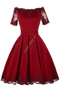 Sukienka z gipiurową koronka na wesele, urodziny, studniówkę, komunię
